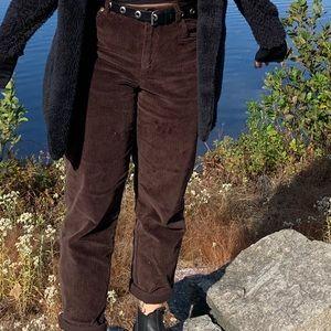 High waisted brown corduroy pants